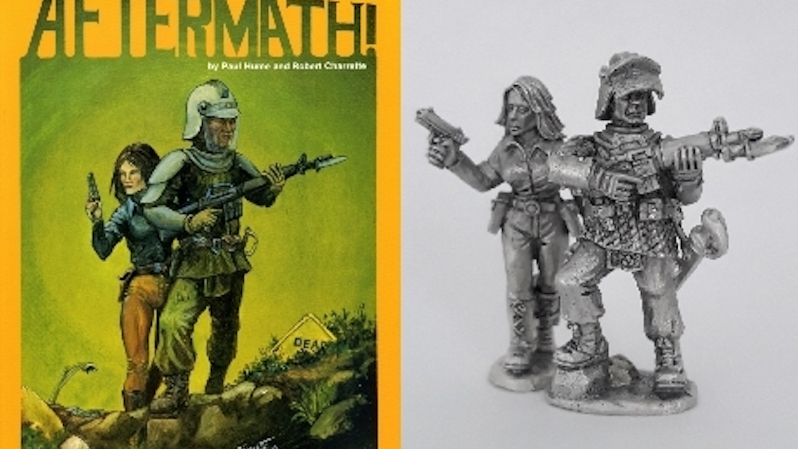 After almost 40 years the iconic cover image of the AFTERMATH! roleplaying game boxset is brought to life in 28mm gaming miniatures.