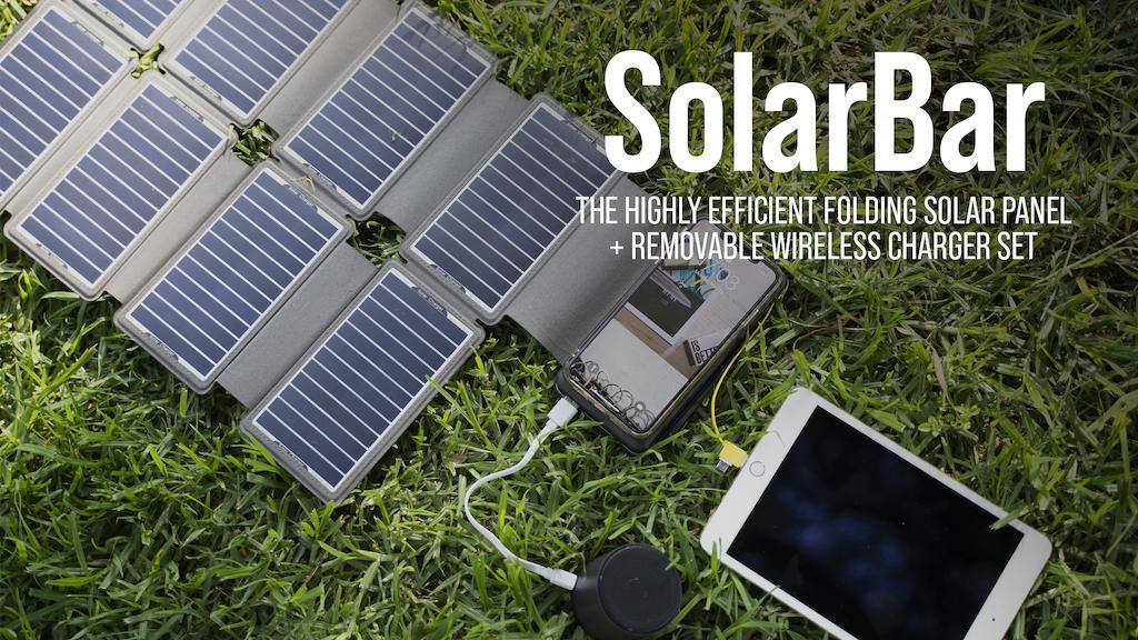 10,000mAhもの大容量のバッテリーを搭載する、Qiワイヤレス充電にも対応したソーラーモバイルバッテリ「SolarBar」