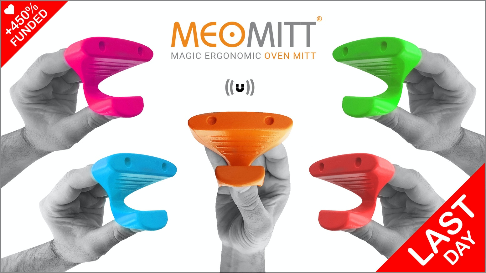 MeoMitt is the world's first magnetic, ergonomic & multifunctional oven mitt. It's the best way to protect yourself from hot dishes.