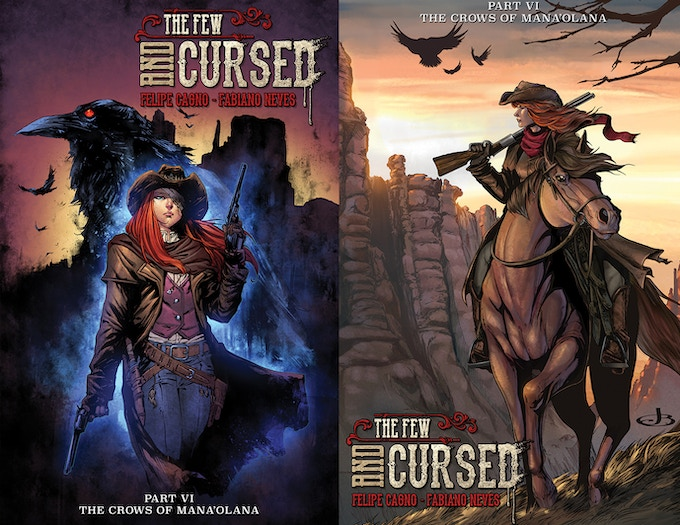 "Variant Cover ""A"" by Rafael De Latorre & Juan Fernandez on the left. Variant Cover ""B"" by Jenevieve Broomall & Ivanna Matilla on the right."