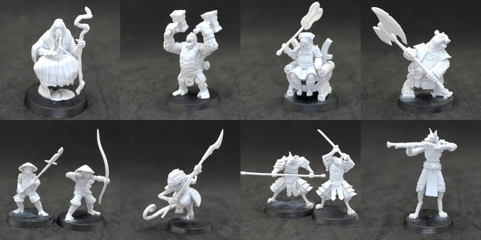 The 28mm miniatures included in the War of The Falling Petal Starter Set, all ready & assembled for war!