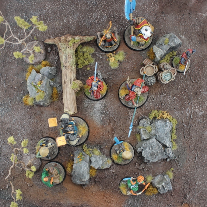 Wafuto & Atsuda warbands face off in the barren wilds - Painting & terrain by Skullboy Studios.