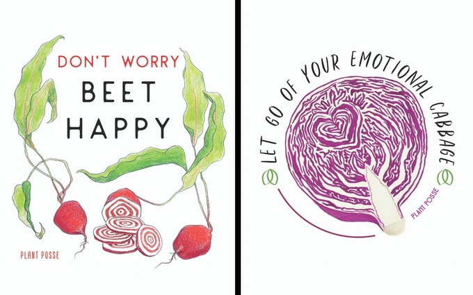 """Don't Worry Beet Happy"" Eco-Print // ""Emotional Cabbage"" Eco-Print"