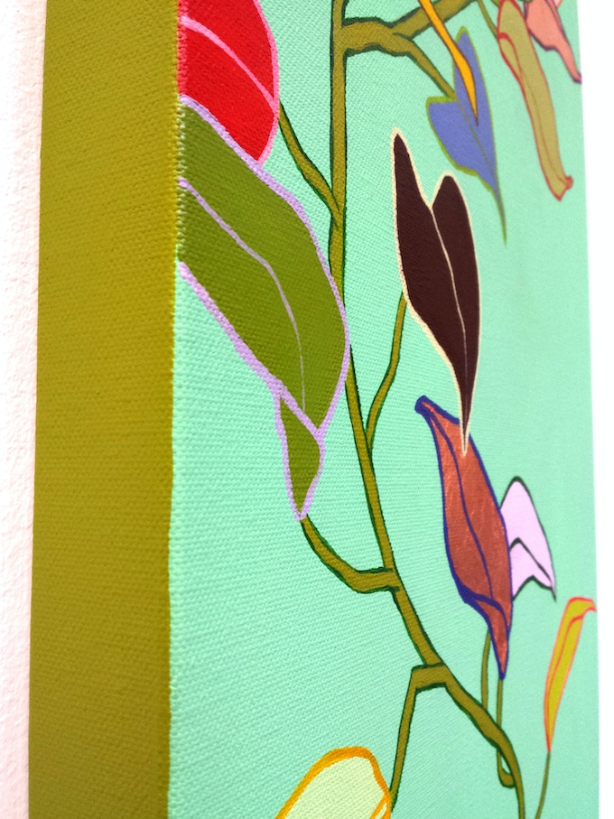 """Detail: """"Upwards We Grow"""" original painting, Acrylic, Oil and Copper Leaf on Canvas, 12"""" x 36"""""""