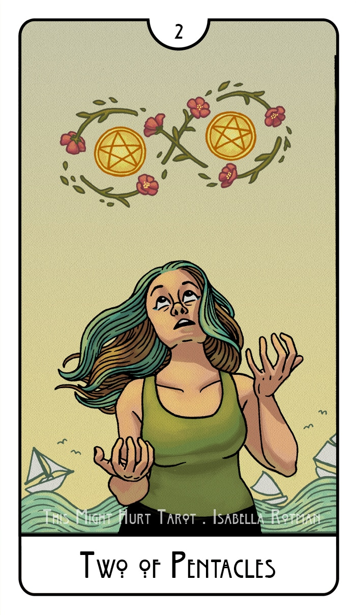 Two of Pentacles from This Might Hurt Tarot