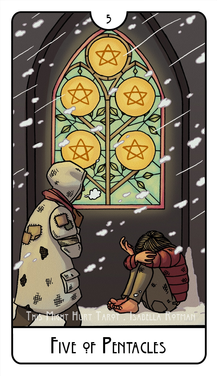 Five of Pentacles from This Might Hurt Tarot
