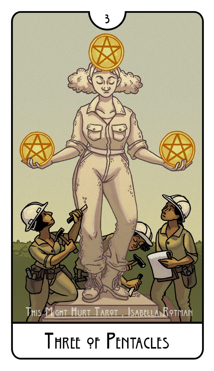 Three of Pentacles from This Might Hurt Tarot