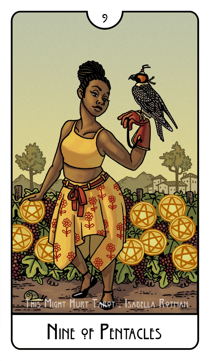 Nine of Pentacles from This Might Hurt Tarot