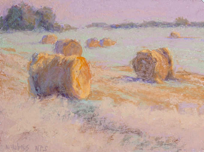 """""""Just Baled"""" Original Pastel Painting 6""""x8""""Framed with Museum glass to 12""""x14"""" featured on P. 100 in """"Land Escapes."""""""