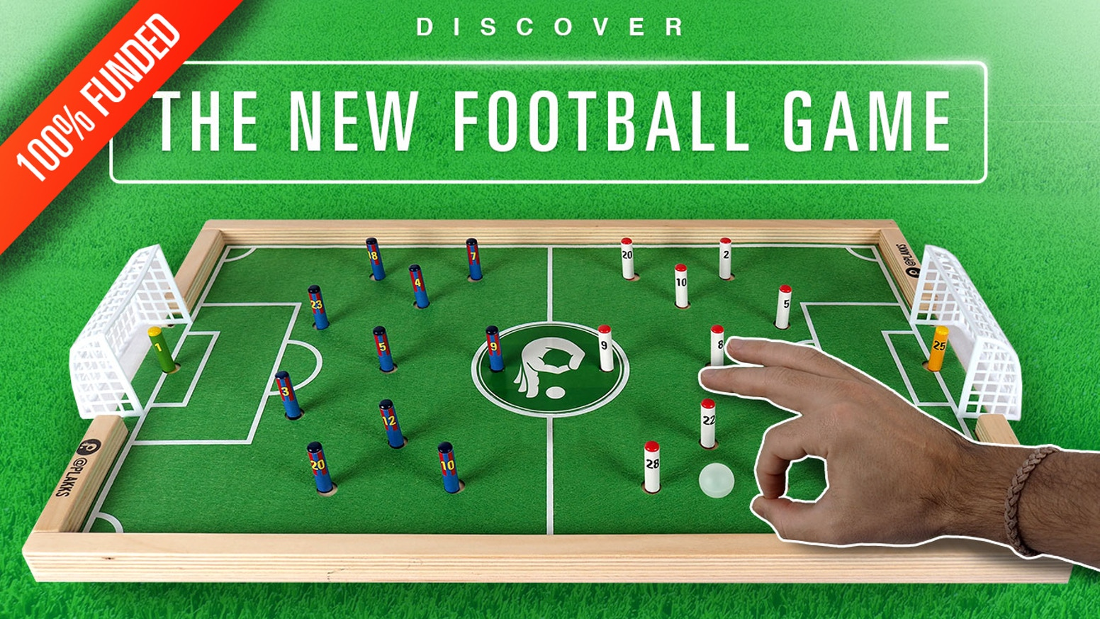 A new football board game to play everywhere with everyone which aim is to score goals by kicking the ball with your finger