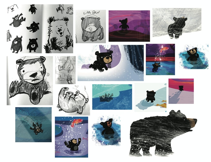 Little Bear's character evolved slowly over the development of the book. Initially seen as 'cute', this was eventually deemed to be running counter to the theme of the book. She shifted in stages, gradually becoming less anthropomorphic and more 'real'...all, of course, in the service of the best way to tell the story.