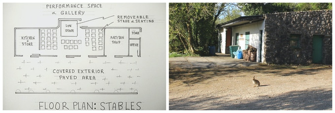 The floor plan for the stables; Our Kickstarter mascot, the Irish hare, posing outside the stables.