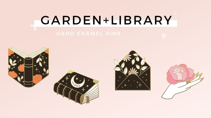 A spring inspired hard enamel pin collection made for bookworms, paper addicts and nature lovers ♡