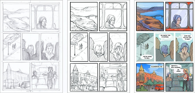 "Page 3 from Washington, By and By. This set of images shows our page development process. The first image (left) shows the original pencil sketch. We use this stage to discuss pacing for the page and how it fits into the overall story flow. We also talk about what we need to ""show"" vs ""tell."" The 2nd image (middle) is an inked page. At this stage we double check to make sure everything is accurate and we finalize what text will need to be added (thoughts, locations, dialogue). The final image (right) is a color version. Because the color is added digitally we can still ""tweak"" things like the intensity of the red of the bus or the color of the sky."