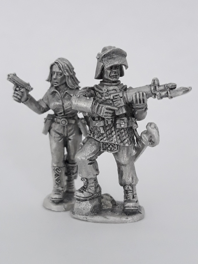 The characters from the cover art cast in lead free pewter and polished to highlight the fine details