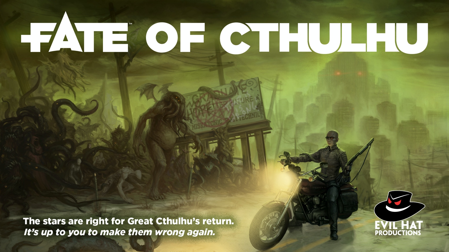 The stars are right for Great Cthulhu's return—and it's your job to make them wrong again in this Fate-powered roleplaying game!