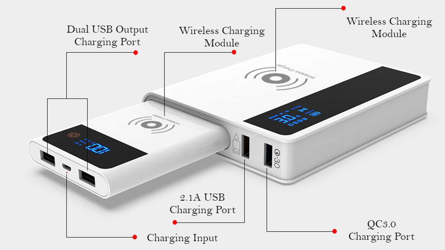 Detachable Design|Wireless Charging|QC3.0 Fast Charging|Multi-devices|LCD Display|Portable|Stable & Safe|High Quality