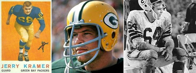L: Jerry's NFL rookie card; C: profile shot - the young Packer R: the photo used for the cover of Instant Replay, the groundbreaking and bestselling book Jerry wrote with the late great Dick Schaap