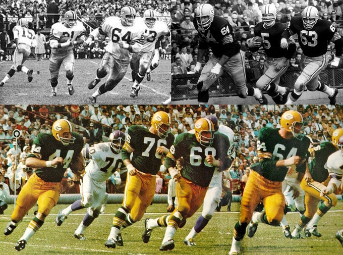 The Packers Sweep, led by Jerry, blocking for: top left - Jim Taylor; top right Paul Hornung; bottom Donnie Anderson