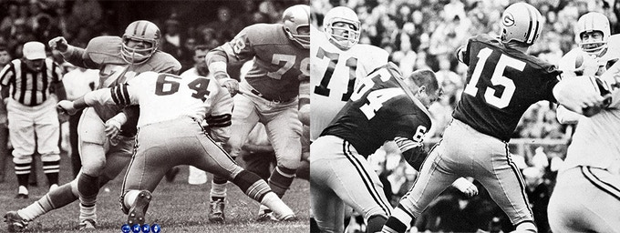 L: Alex Karras - with his arm cocked - seems to be ready to haul off on Jerry; R: Karras again, having knocked off Jerry's helmet moments earlier. Alex Karras and Merlin Olsen were two of Jerry's primary rivals.