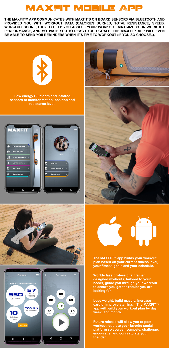 MAXFIT: The World's First Truly Portable All-In-1 Smart Gym MAXFIT is a beautifully designed ultra-compact​ total body work out connected fitness machine for people of all fitness levels