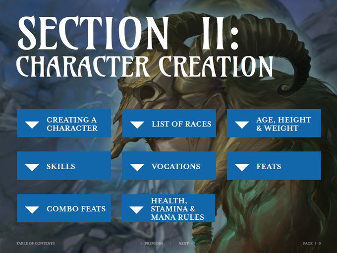 The Character Creation table