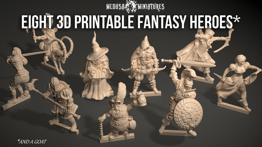Project image for Eight 3d Printable Fantasy Heroes for Tabletop Gaming