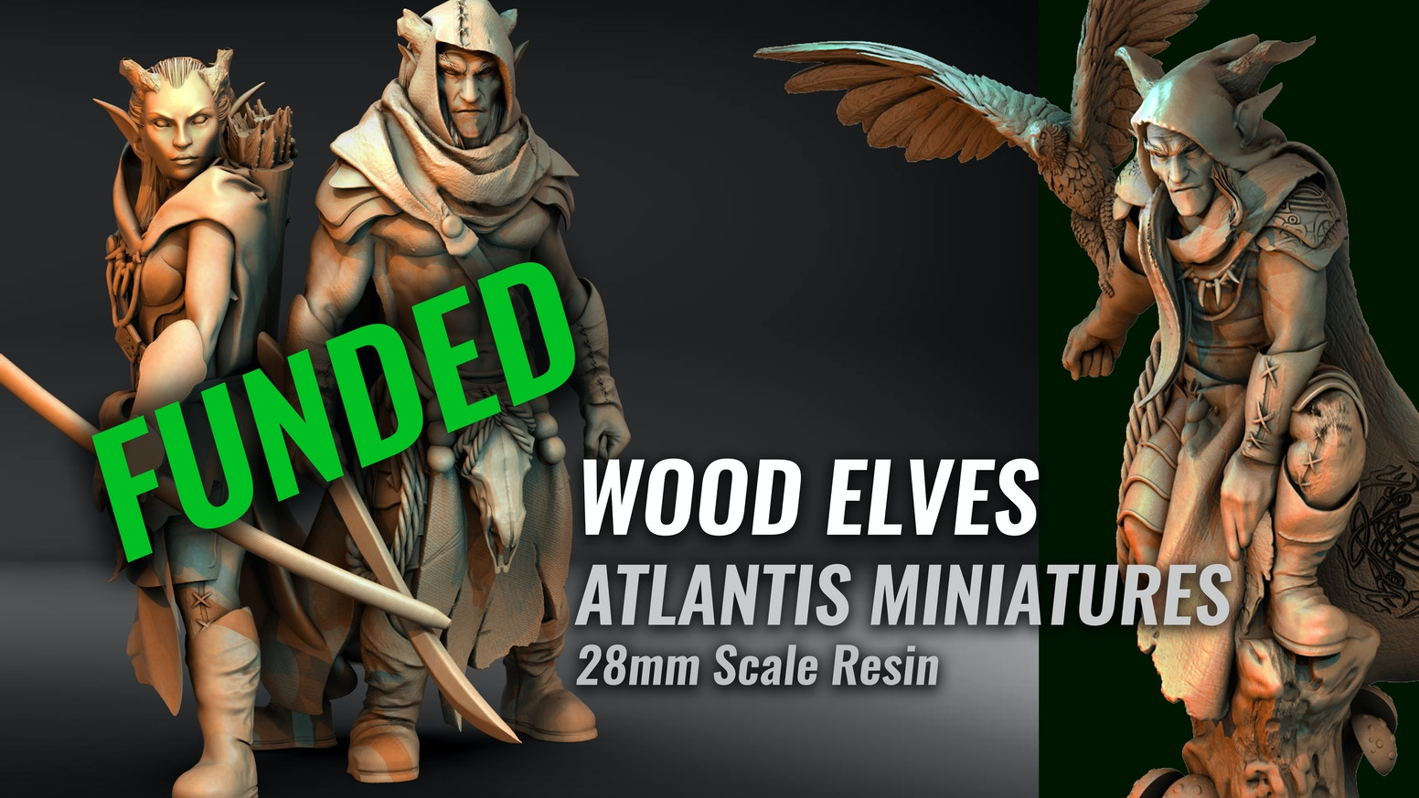 A collection of 28mm Resin Wood Elf Miniatures