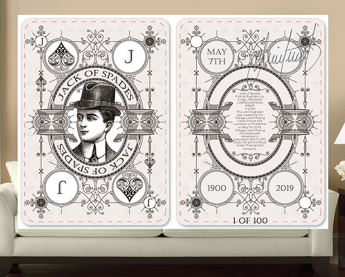 Close up sample of a Limited Edition, Signed, Numbered and Date Stamped, Giant Illustration Card (Front and Back).  Available in a Royal Flush Card Set (5 card set - 10,J,Q,K,A of spades) for collectors to take in every detail that went into the card designs for the Kickstarter Exclusive Signature Edition Private Reserve White Decks.