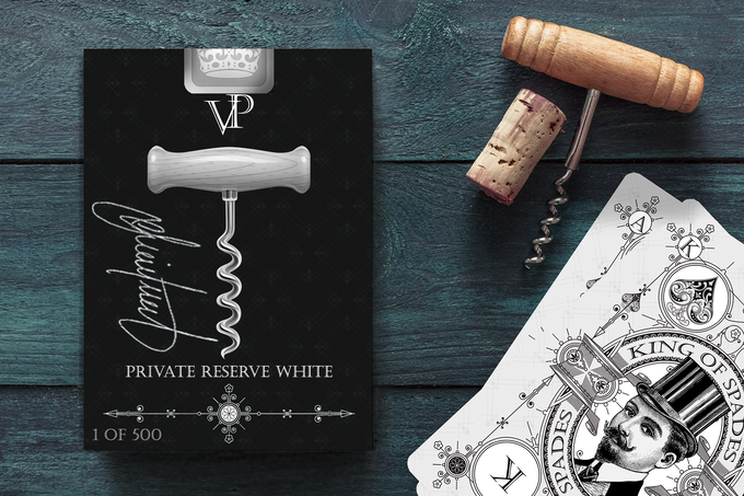 Kickstarter Exclusive Signature Edition Private Reserve White Deck with Silver Gilded Card Edging and customised court card illustrations. Available in this Kickstarter as an add on option for $47 AUD for 1, $75 AUD for 2, or 3 for $100 (Limited to backers who hold a key to the Wine Cellar and limited to 3 decks per backer).