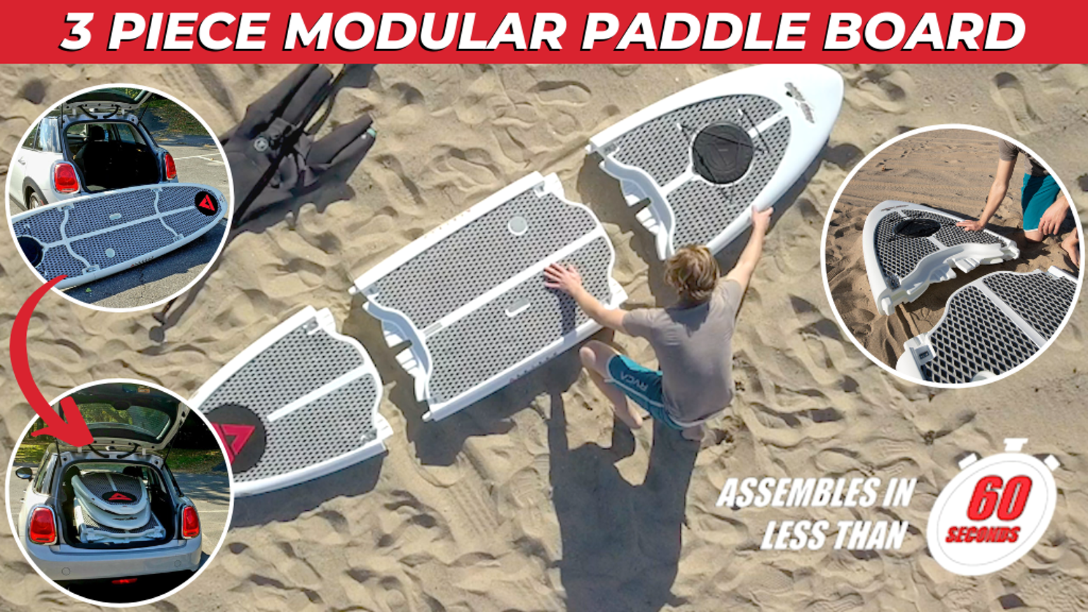 Three-Piece Modular Stand Up Paddle Board (SUP) with performance, convenience, portability, and recyclability. Check out Easy Eddy today!