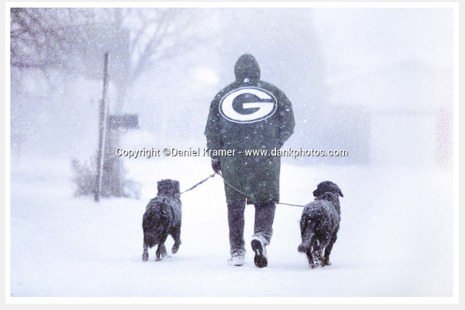 Packers fans have eternal love for their team (and their dogs) - sticking together in all kinds of weather; pictured here - a lovely springtime afternoon in Wisconsin