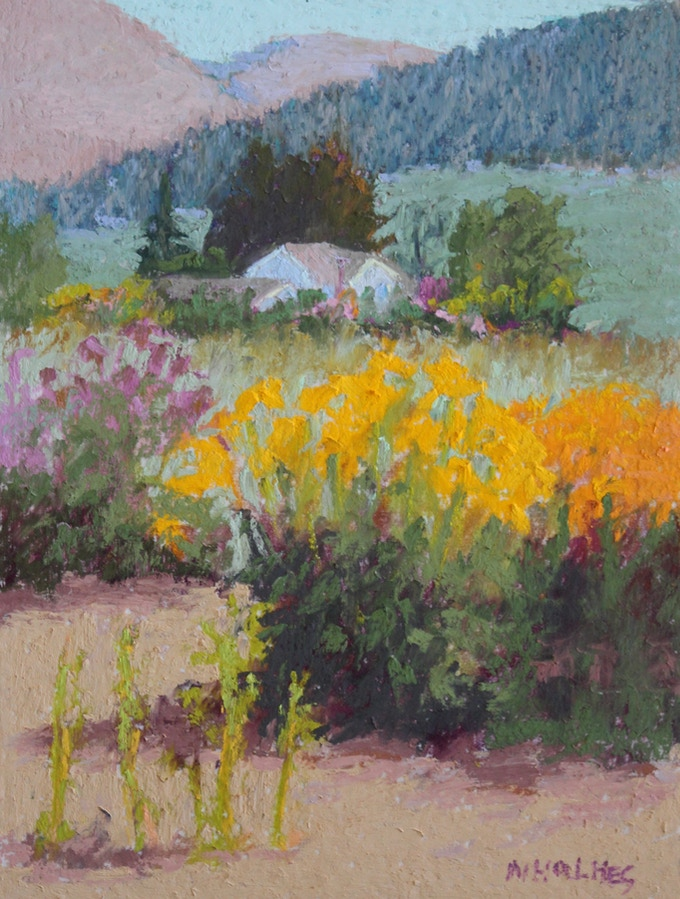 """""""The Gorge White House"""" 8""""x6"""" Original Pastel Painting, Framed with Museum glass to 14""""x12"""" Featured on P. 185 in """"Land Escapes."""""""