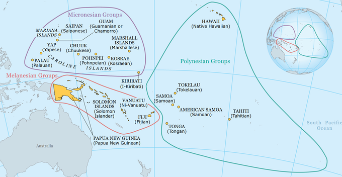 Depiction of the Pacific Island Groups: Micronesia and others | Image Credit: 2010 Census Report on Native Hawaiian and Other Pacific Islands  |  This image is for Kickstarter Marketing and Not Reflected in Our Book Draft