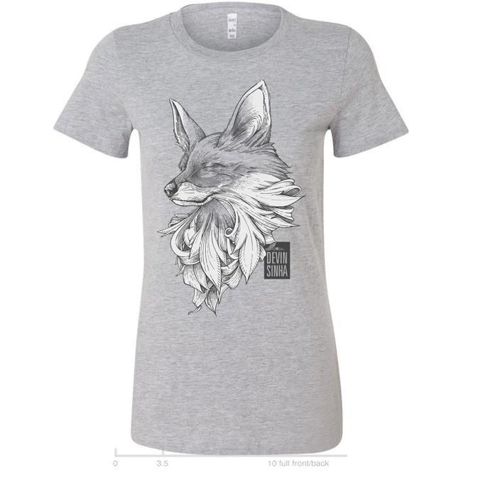 Heather gray womens fox t-shirt
