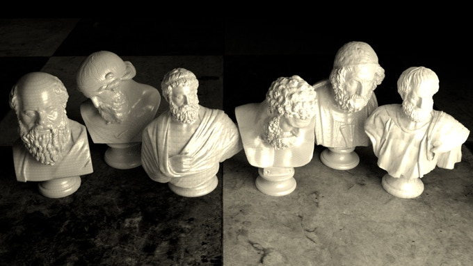 From left to right: Socrates, Plato, Sophocles, Heraclitus, Homer and Aristotle