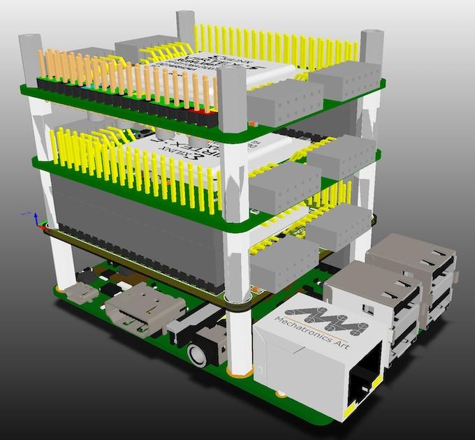 NovaPi NP01 Series Bus stack - CAD rendered image