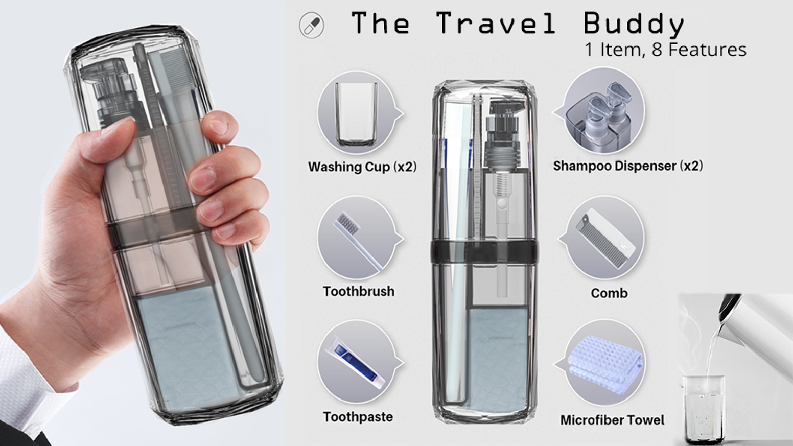 Sleek & compact all-in-one travel toiletries companion. Stay Fresh On The Go