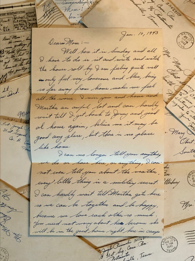 This is one of 23 letters Sgt. Joseph Pisinski sent home to his mother throughout training camp. After training was completed he boarded the HMT Rohna and was killed in the Rohna attack on his second day of war.