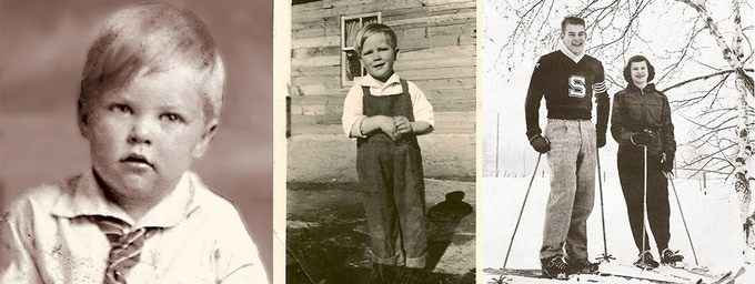 L to R: Jerry at age 2; Jerry in home-made coveralls (made by his mom); Jerry (with a teammate) while on his high school skiing team