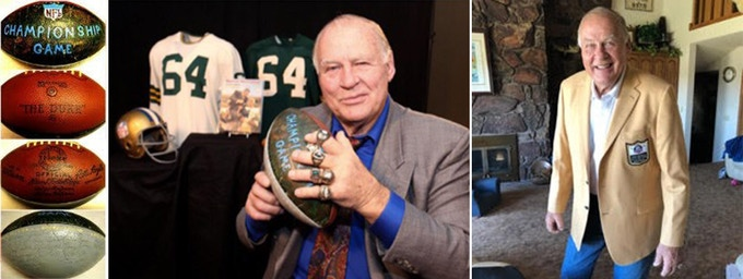 L to R: the 1962 championship football with others; Jerry with the 1962 ball at Heritage Auction; Jerry sporting his Hall of Fame jacket at home (photographed by daughter Alicia)