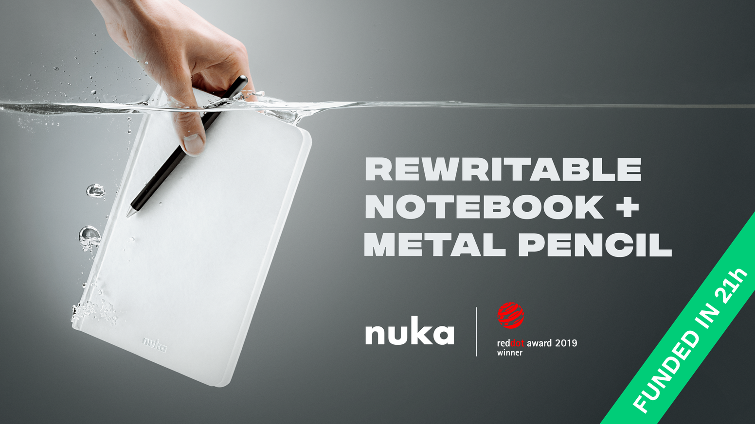Fully rewritable and waterproof notebook. Eternal metal pencil.