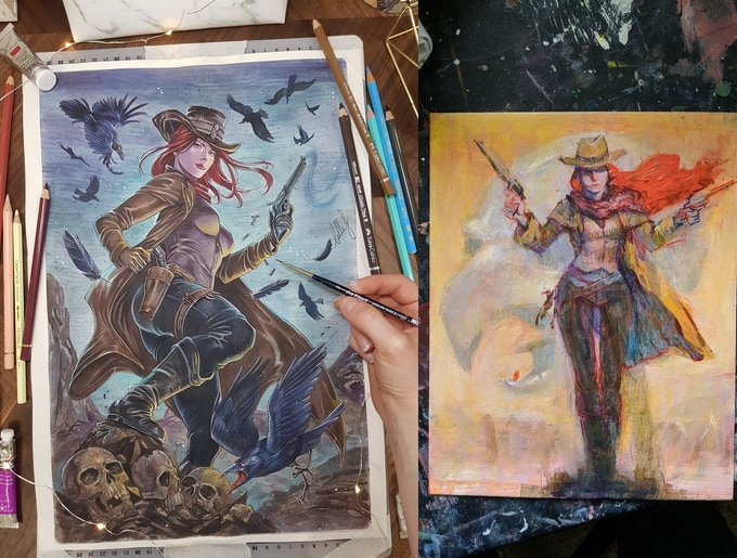 Bella Rachlin art on the left & Tou Vue art on the right