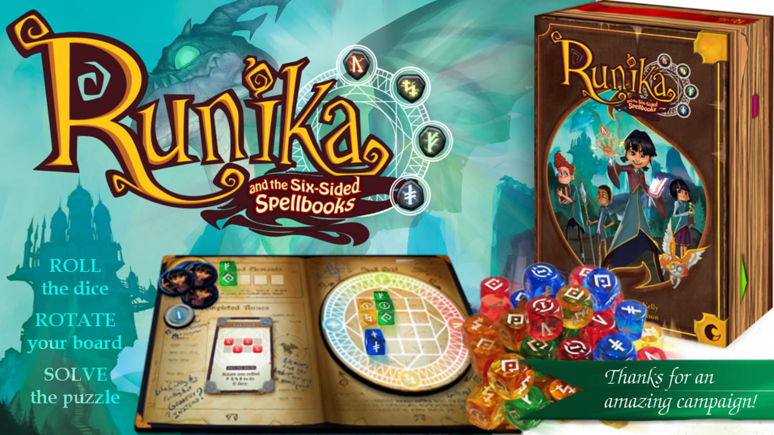 A 1-4 player fantasy puzzle game with 80 dice and rotating boards. Roll dice, solve puzzles, create your runes and cast your spells!
