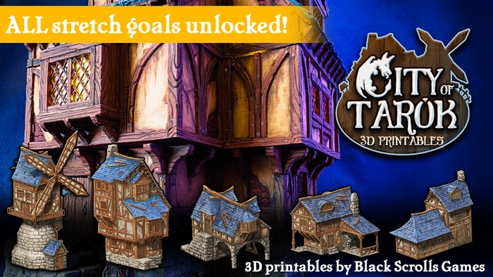 The City of Tarok is a 3D printable medieval and fantasy set for 28mm tabletop RPGs like D&D, Pathfinder and other miniature games. Parts will be released one by one on DriveThruRPG: