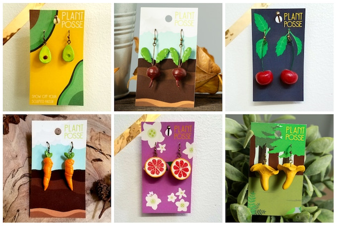 Dangle Earring Options (Avocado, Beets, Cherries, Carrots, Grapefruit, Chanterelle Mushrooms)