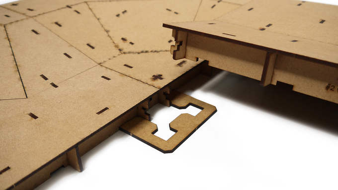 Removable corner 'locks' keep inner-corners of the board tightly fitted together