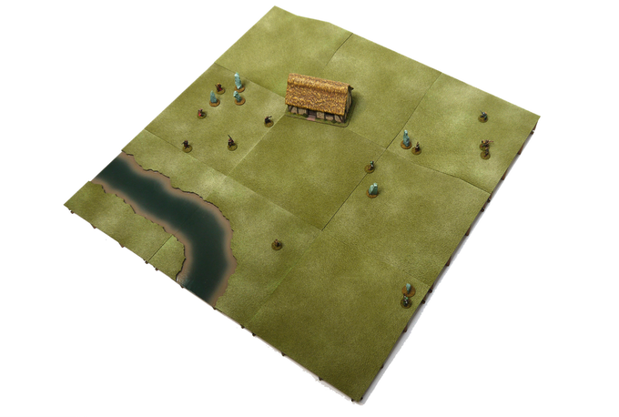 A completed, painted and flocked board that uses various tiles