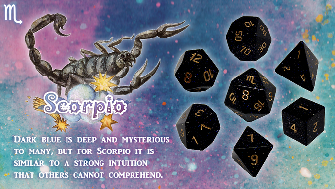 Handmade Zodiac Pure Gemstone Dice 2 by Diving Hippo Studio