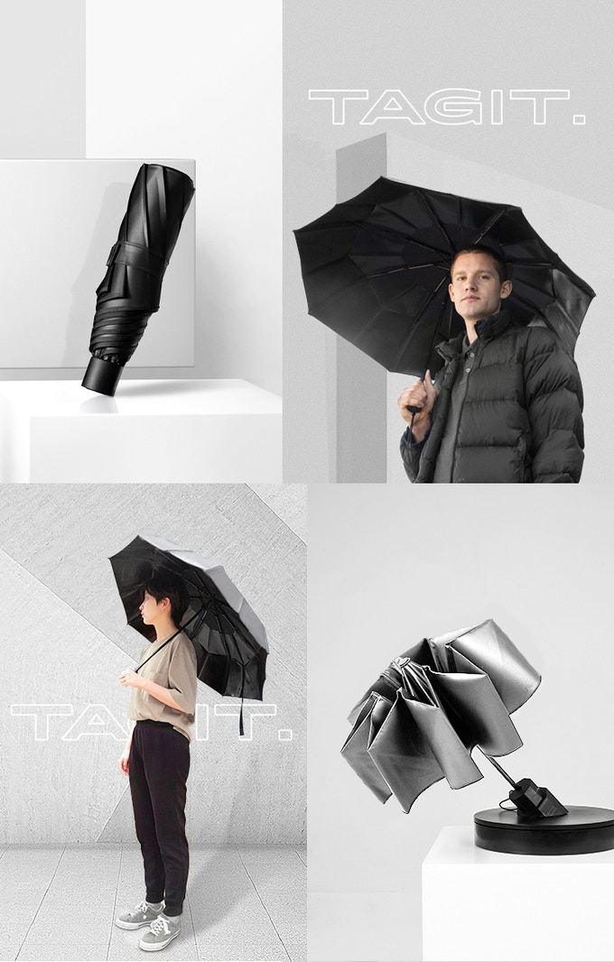 TAGIT™ Umbrella - Perfect Fold in 5s, Water-Repellent The Umbrella will never collapse in a mess. You no longer need to fumble with soaked and bulky umbrellas.